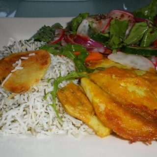 fried fish with saffron