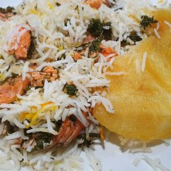 salmon and dill layered rice