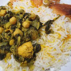 Khoresht Morgh-e Esfanaj - Chicken Stew with Spinach